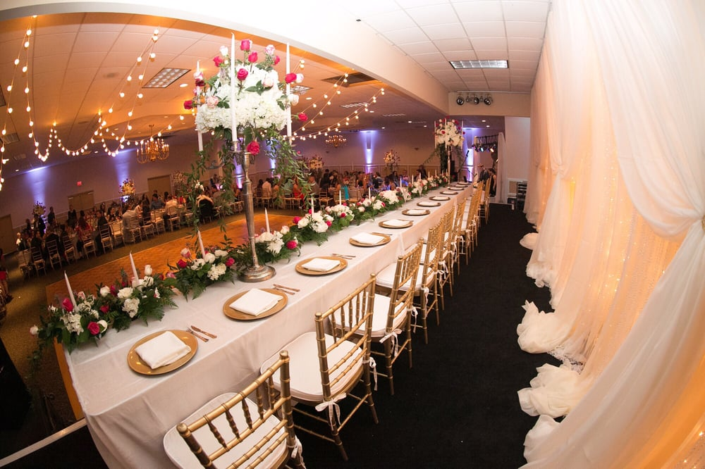 Head Wedding Table Fairy Light Draped Backdrop And Tables Plus