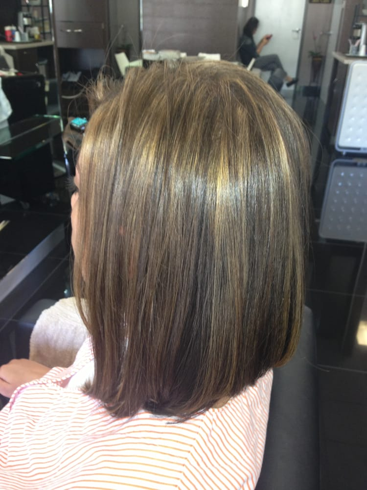 ... Hair salon Highlight Low-light & cut A-Line Bob Haircut Irvine 92604