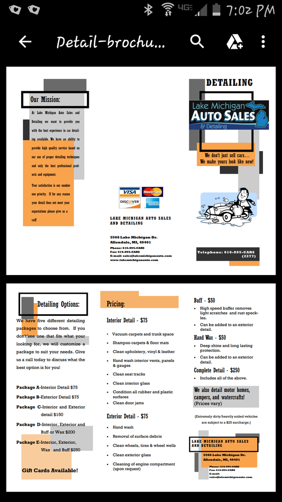 Lake Michigan Auto Sales & Detailing: 5566 Lake Michigan Dr, Allendale Charter Township, MI