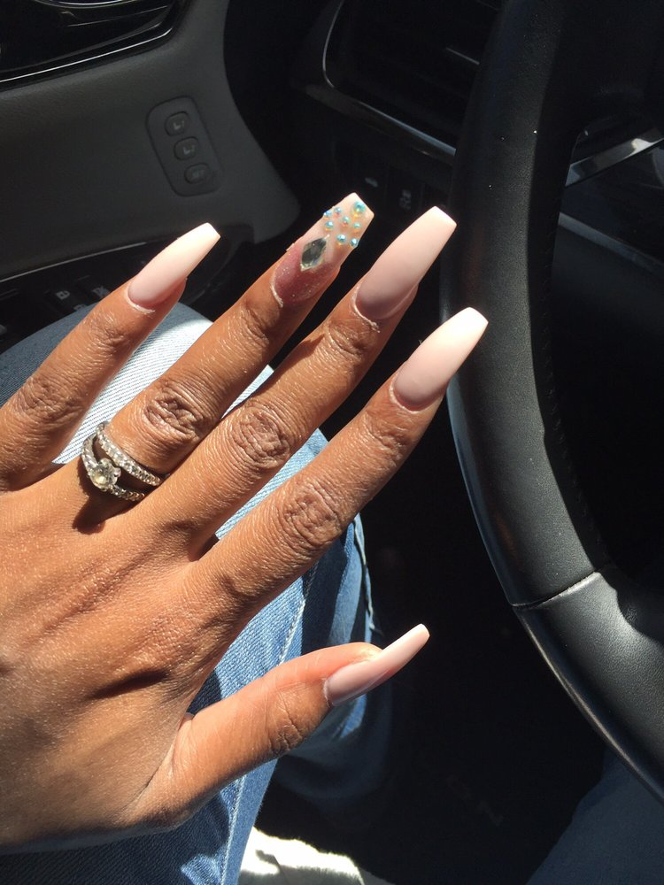 Long length coffin shaped nails by Ken-nude/pink color powder ...