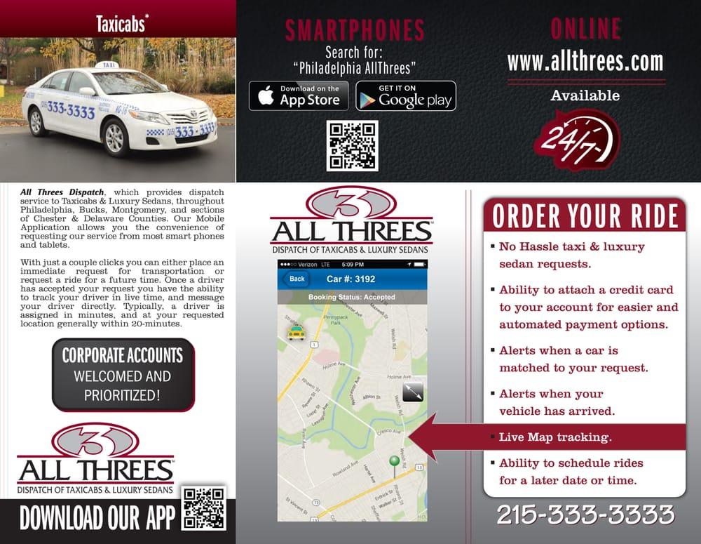 Allthree's Luxury Sedan & Taxicab Service: 8125 Frankford Ave, Philadelphia, PA