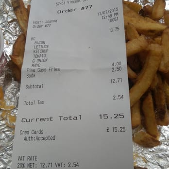 P O Of Five Guys Glasgow United Kingdom Expensive Burger Meal With Some Overcooked