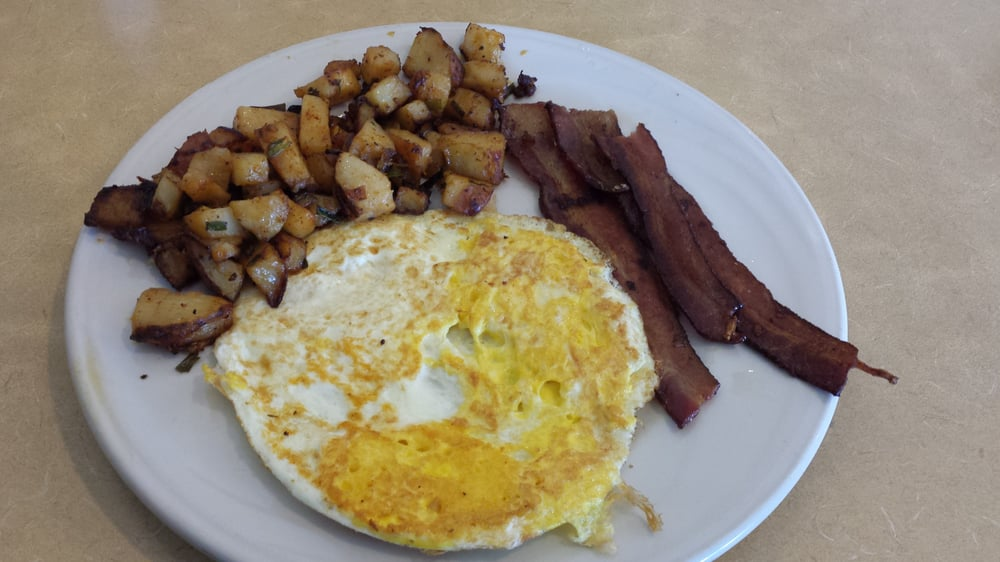 Jimmy S Potatoes Yum With Eggs Over Hard And Bacon Yelp