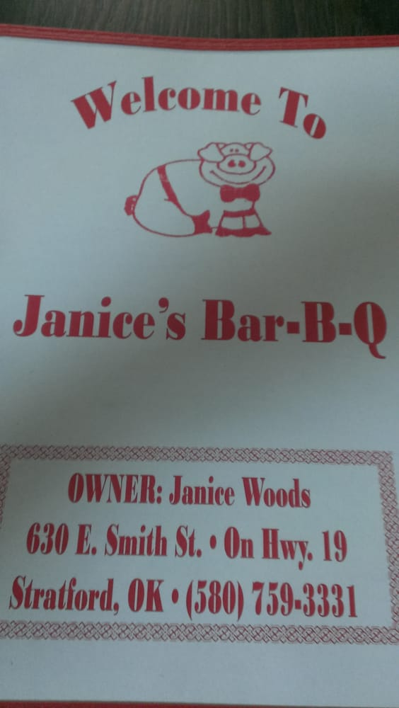 Janice's Barbeque Pit: 630 E Smith St, Stratford, OK