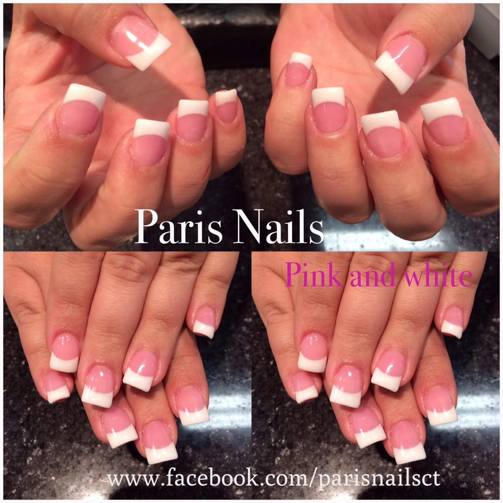 Pink and white permanent French by Mellie $45 for a new set - Yelp
