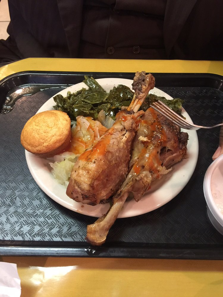 Baked Turkey Legs With Cabbage Collards And Corn Bread Yelp
