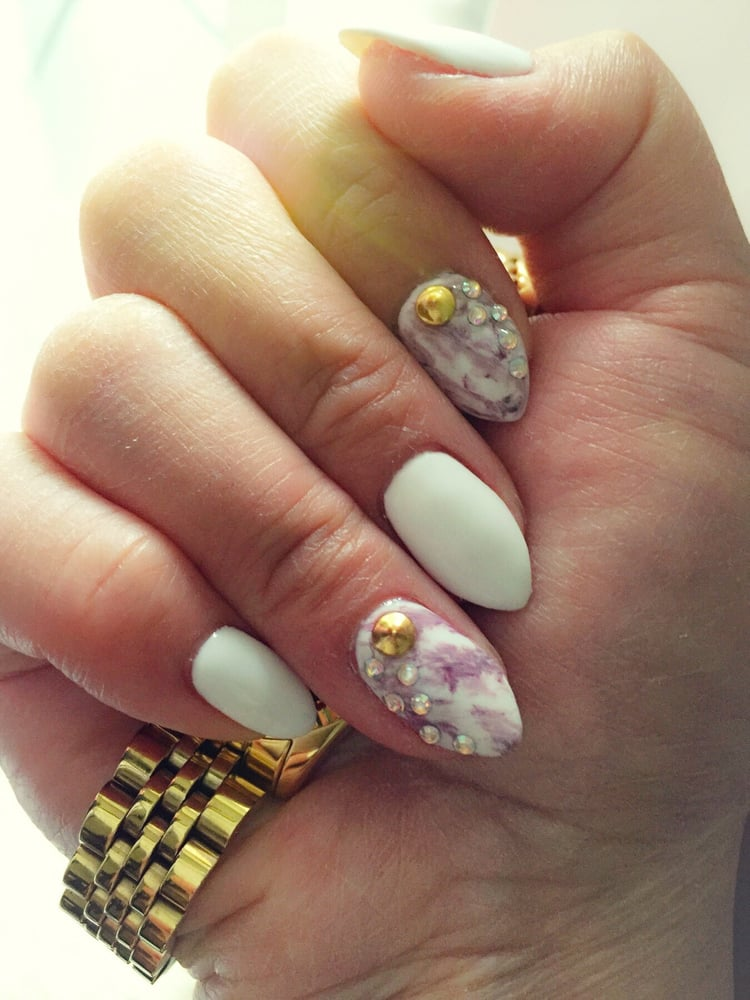 Marble gel nails with almond shape - Yelp