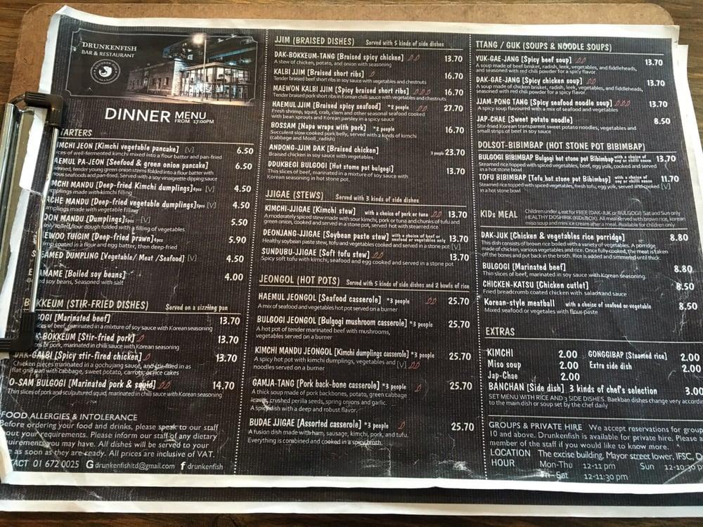 Menu yelp for Drunken fish menu