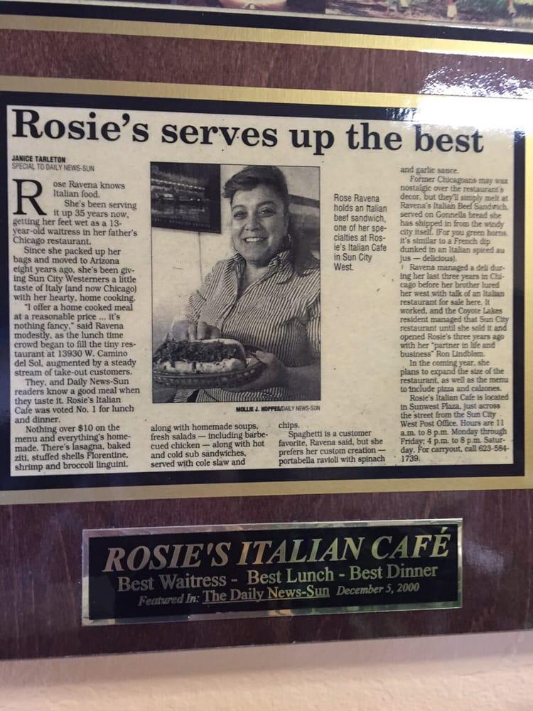 Rosie S Italian Cafe Menu Sun City West Az