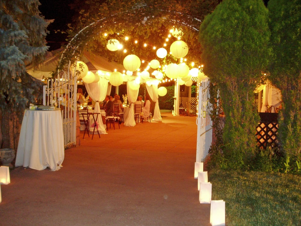 WEst Wing Terrace with a tent and lighting decorations ...