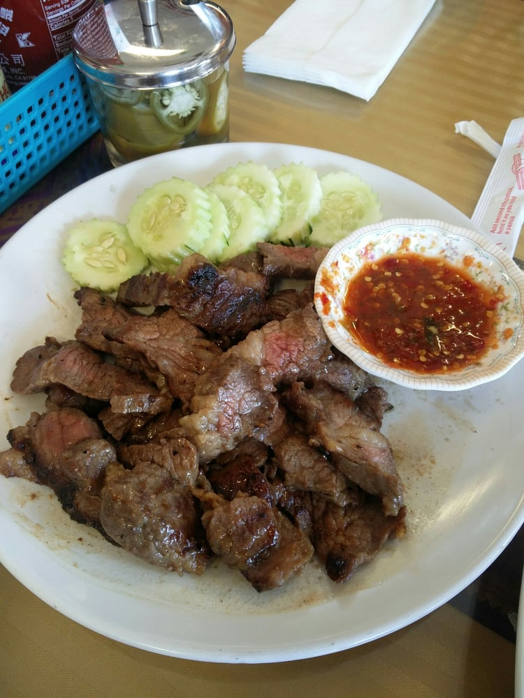 Microwaved grilled beef wth yelp for Ano thai lao cuisine