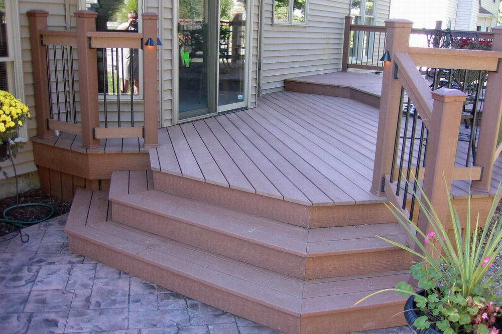 Composite Deck & Colored Stamped Concrete Patio - Yelp