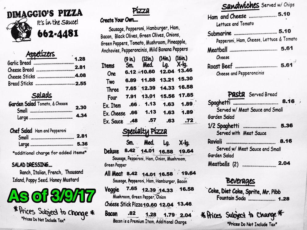 Pizza Dimaggio's: 216 W North Ave, Flora, IL