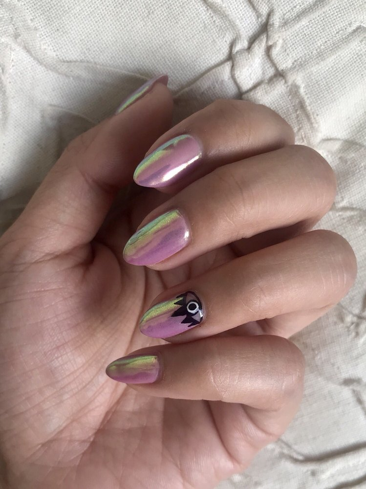 Iridescent shellac mani with luminara powder and evil eye nail art ...