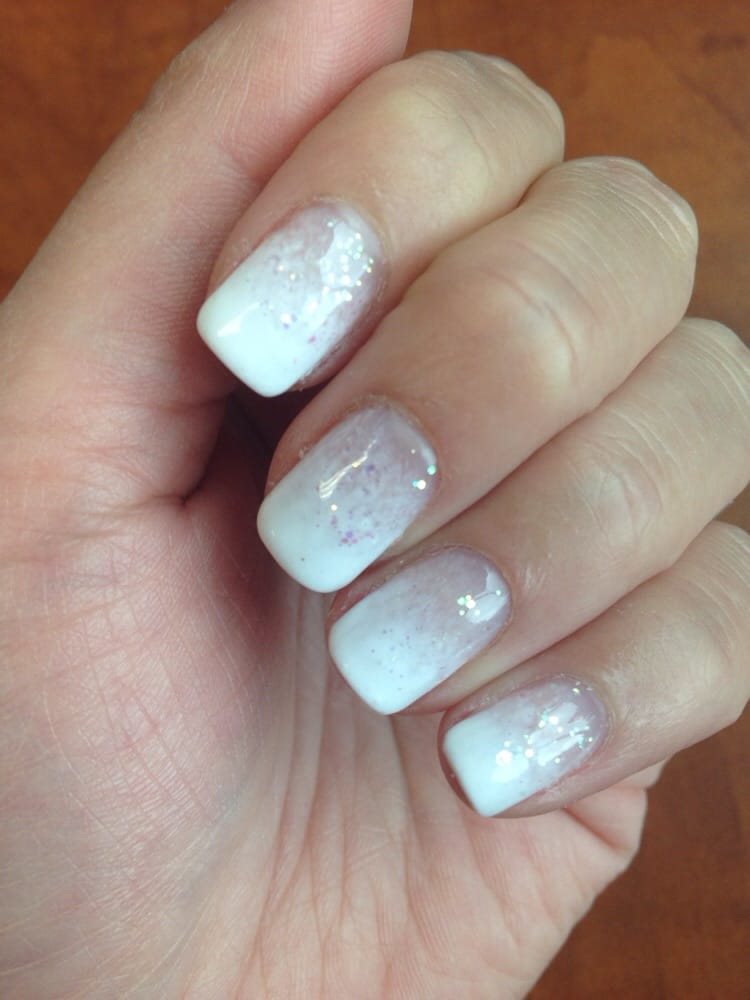 White Ombré with glitter Shellac Manicure by Cindy! - Yelp