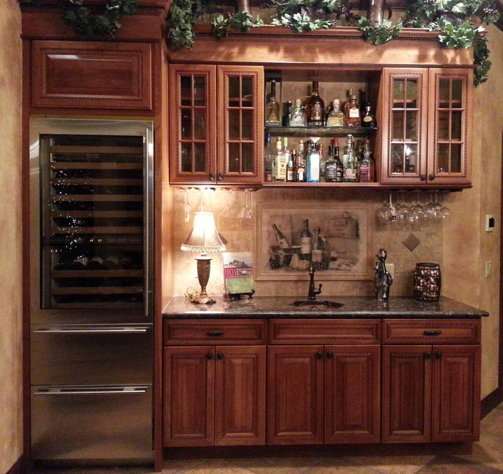 Custom built home in montgomery ny wine bar in kitchen for Home bar area