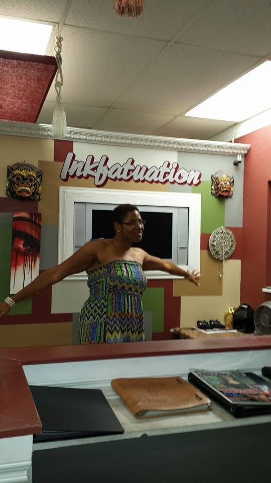 Me being silly in the shop yelp for Inkfatuation tattoo shop bakersfield