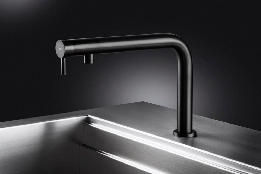 The nemo kitchen sink faucet in black steel by mgs italian design