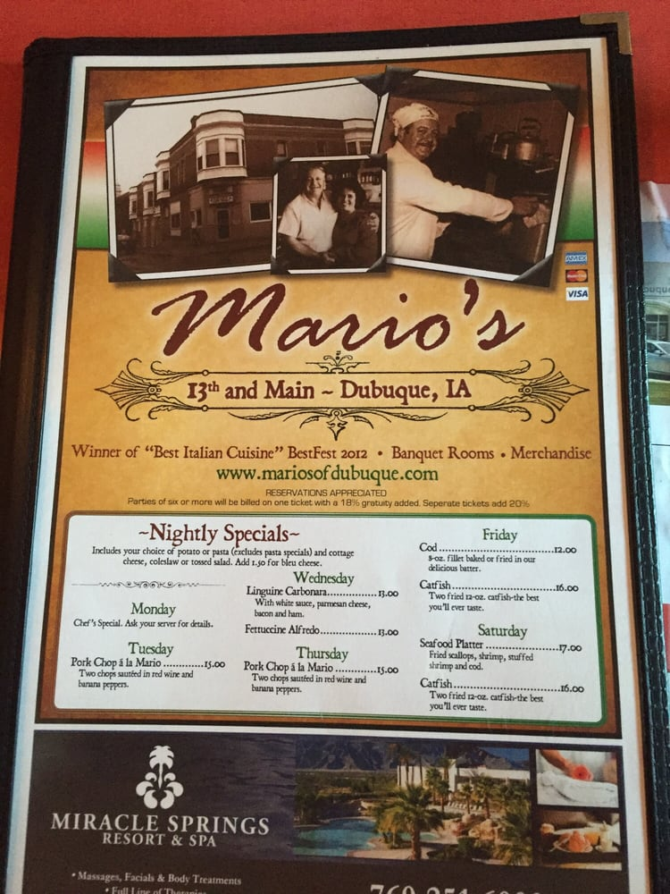 Front cover of menu - Yelp