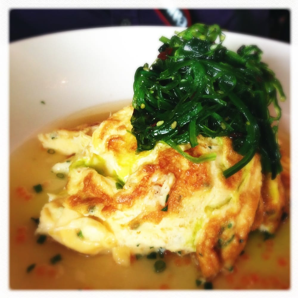 Spanner crab omelette with Wakame salad, salmon roe and miso broth ...