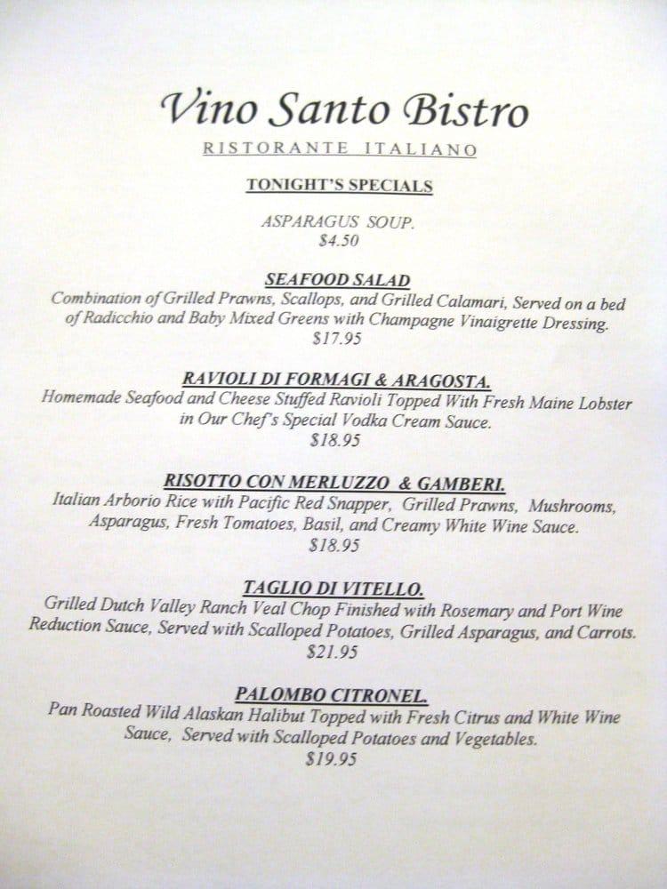 Vino Santo Restaurant Redwood City Ca