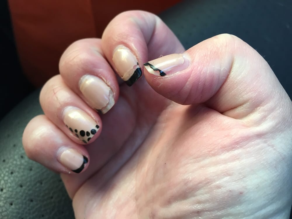 Pink w black tips and dots on ring fingers. Photo less than a week ...