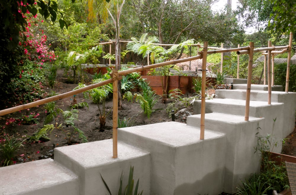 Zen Garden San Diego Staggered Stairs Up Hillside Bamboo