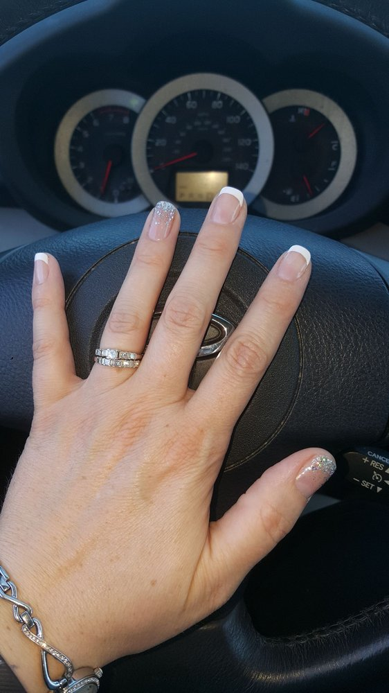 Love my French manicure with ombre sparkle accent nails!!! - Yelp