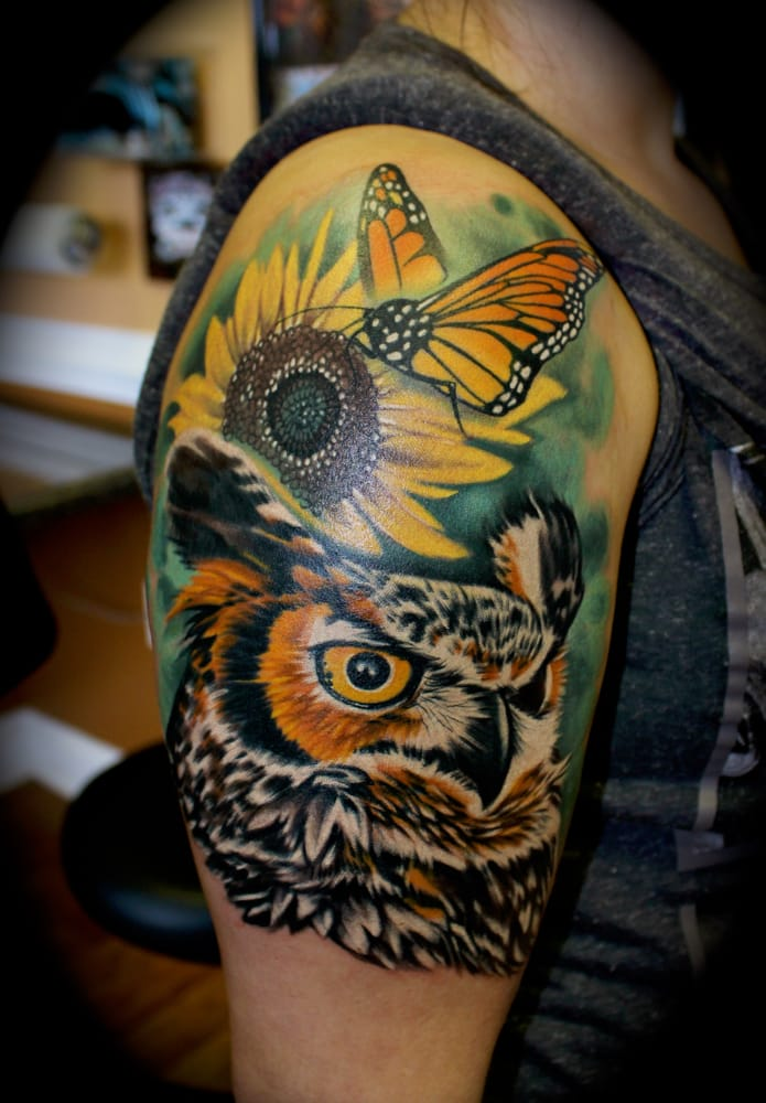 Owl and monarch butterfly tattoo by roger ladouceur star for Tattoo roanoke va