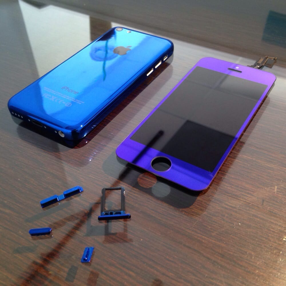 Custom iphone 5c mirror blue back housing lcd screen yelp for Custom housing