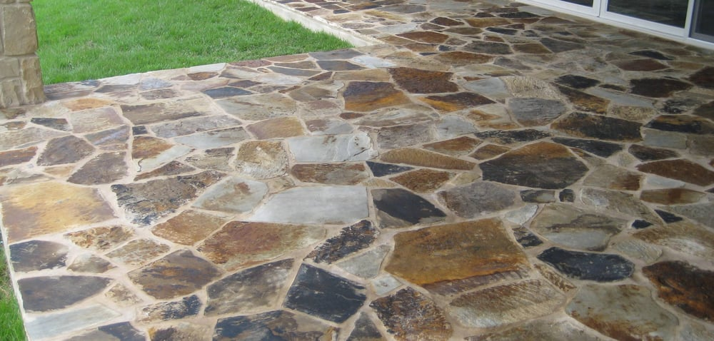 Flagstone patio after being sealed with dupont stone Flagstone patios colleyville tx