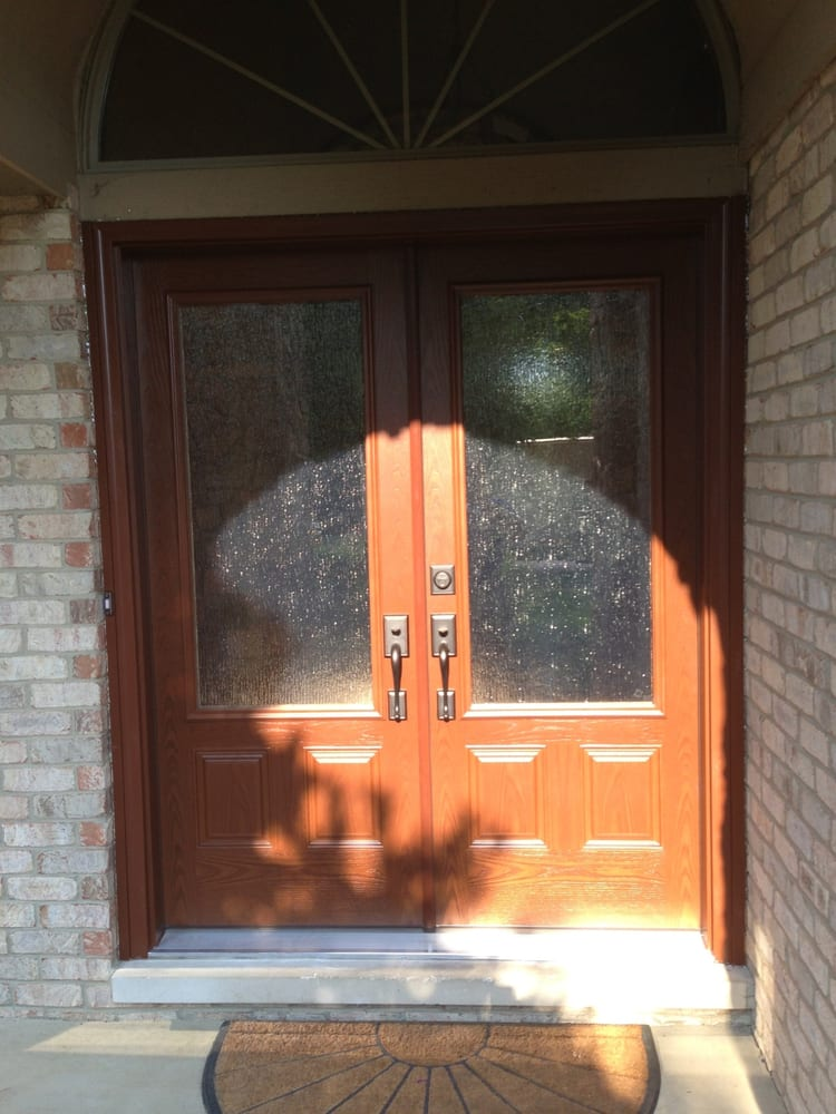 Double Doors With 3 4 Rain Glass Textured Fiberglass Stained Yelp