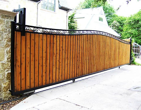 Custom Iron Slide Gate With Wood Inserts Yelp