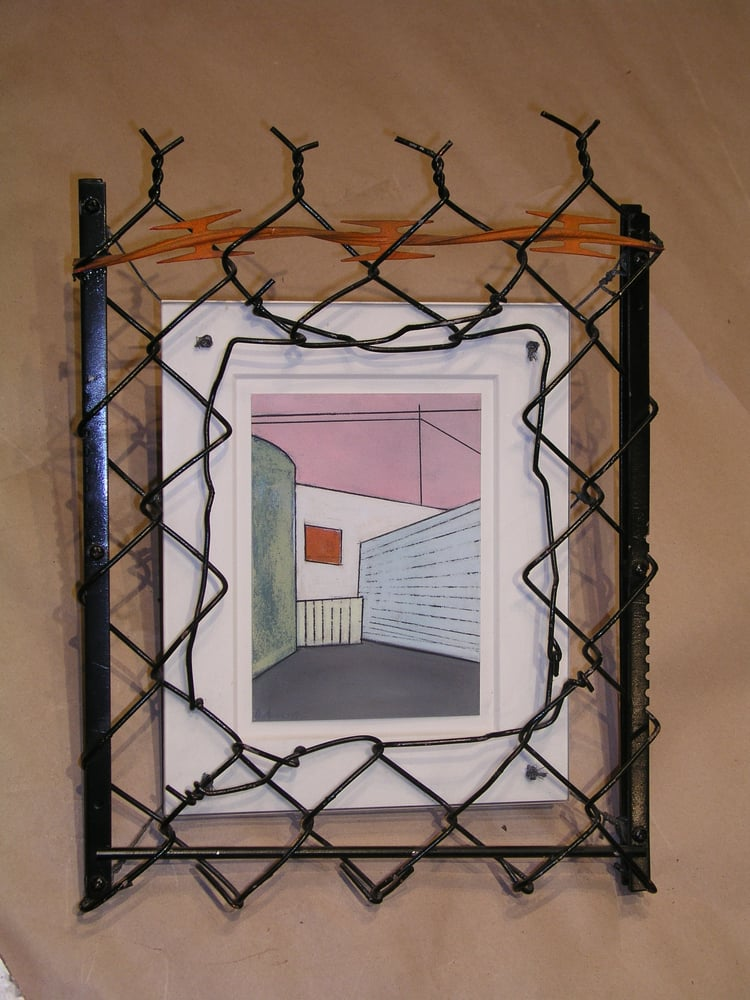 Frame made of chain link and razor wire for industrial style drawing ...