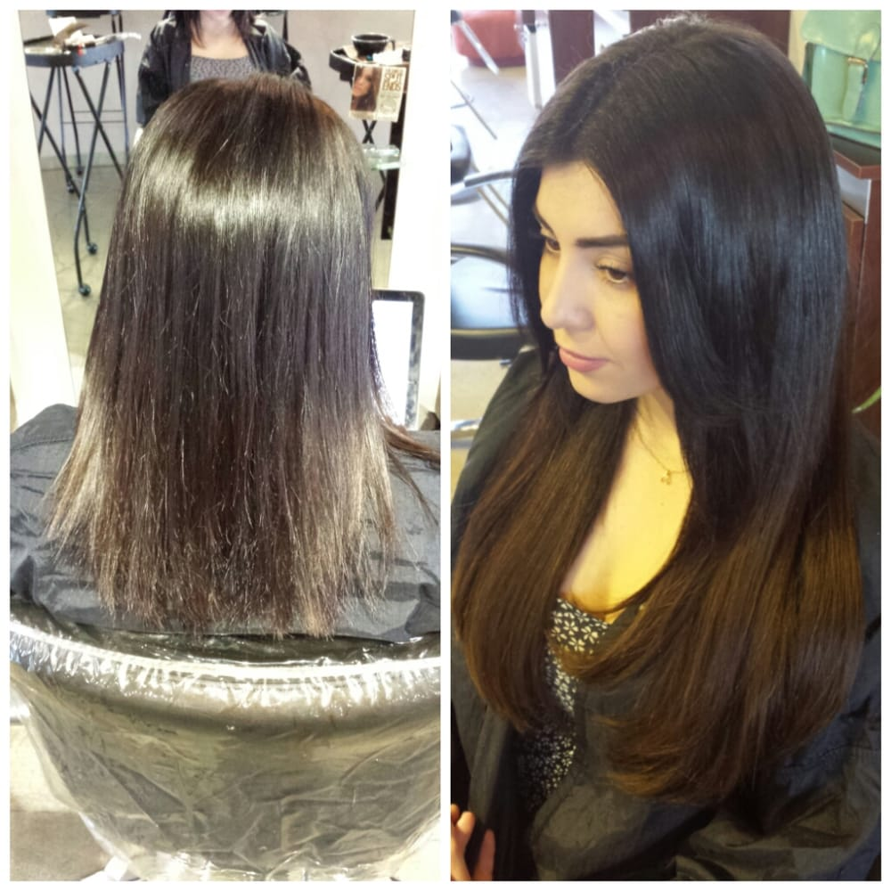 Before And After Application Of Individual Keratin Hair Extensions