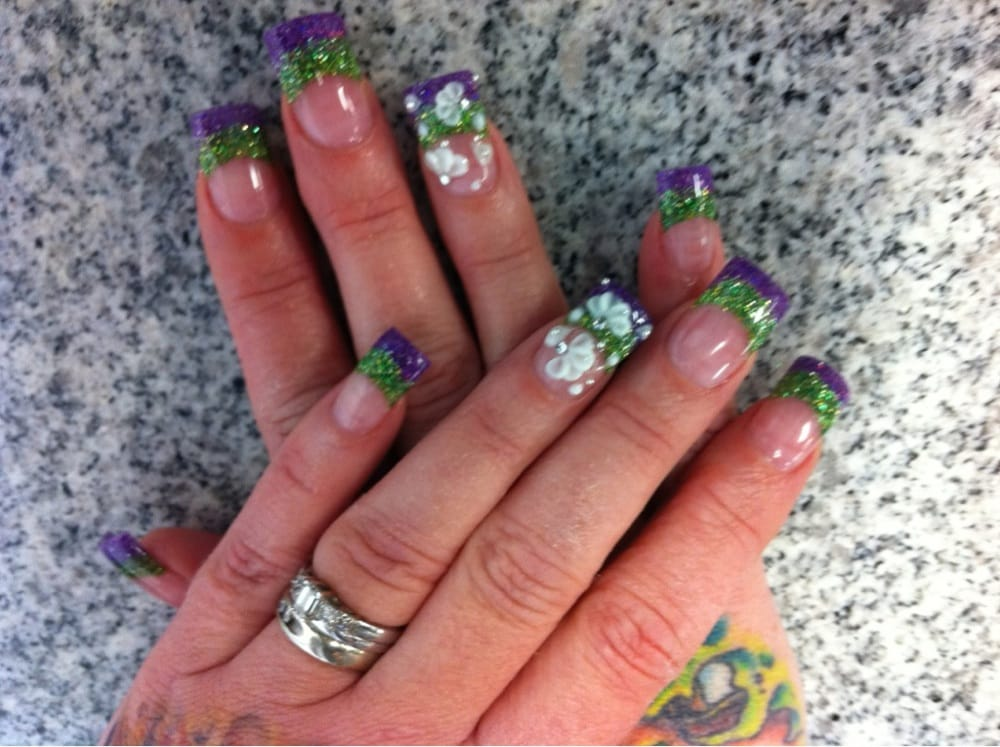 purple and green glitter powder with 3D nail art - Yelp
