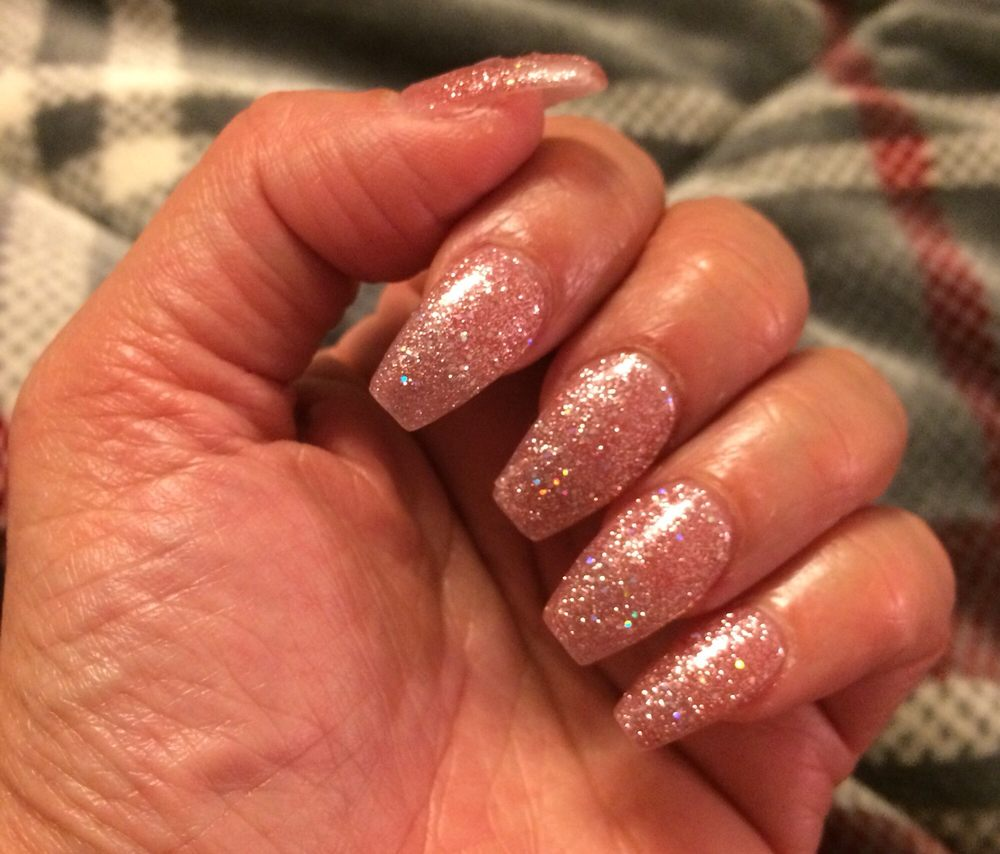 Acrylic coffin with pink glitter gel polish. Merry Christmas and A ...