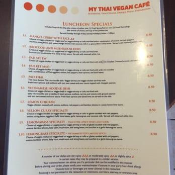 My Thai Vegan Cafe Boston Ma Menu