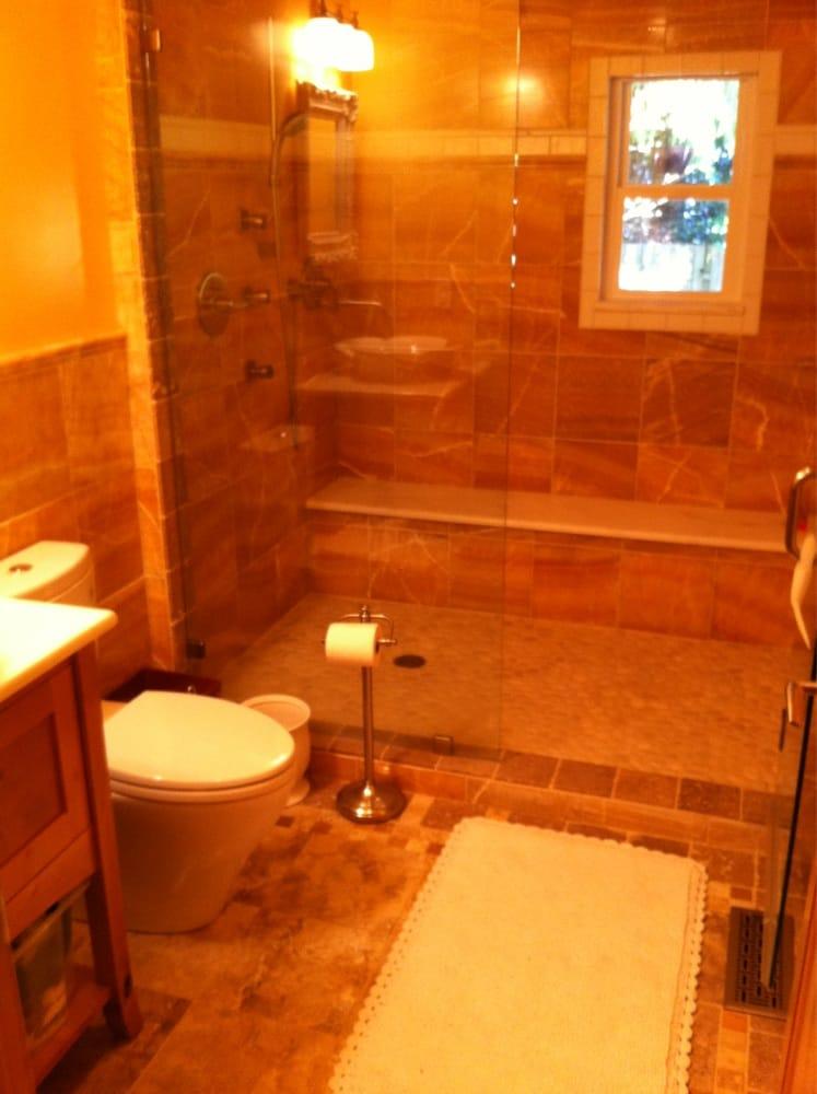 Kirkland bathroom upgrade honey onyx shower travertine - Onyx shower reviews ...