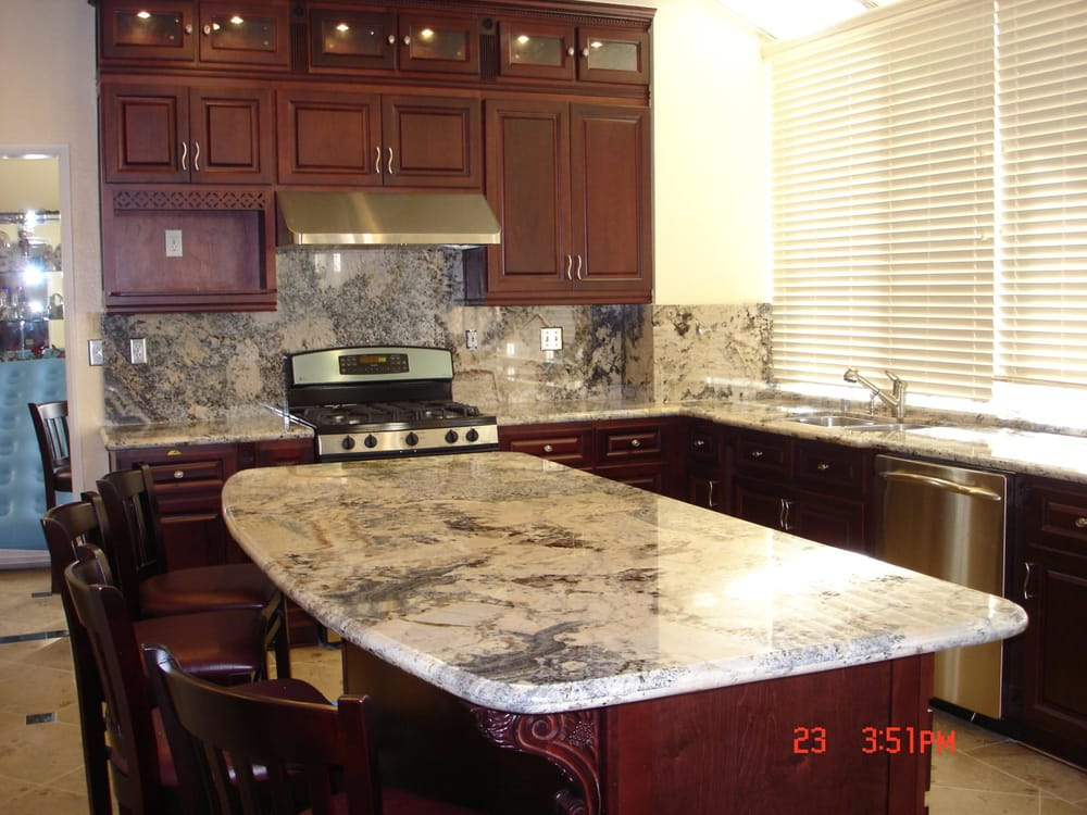Cool Cherry Cabinets With Granite Countertops And Island Yelp Home Remodeling Inspirations Gresiscottssportslandcom