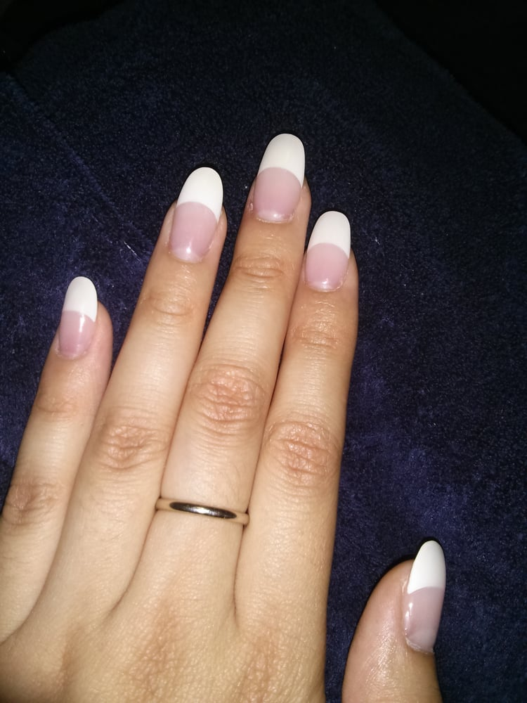 french tip round acrylic nails by Lee :} - Yelp