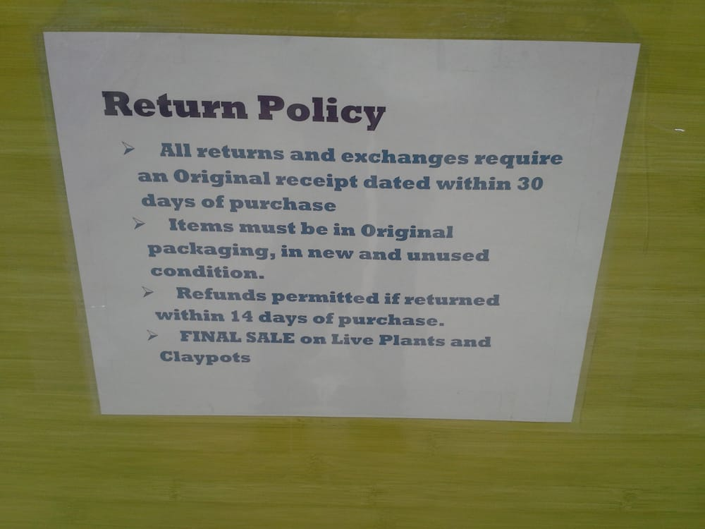 how to create return policy for restaurant