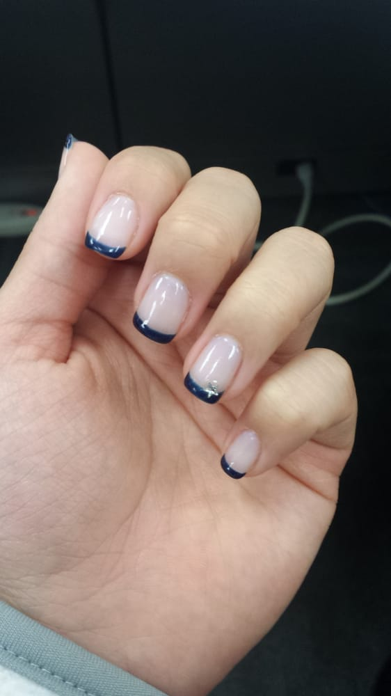 Navy French manicure (uv gel) blinged out with a star - Yelp
