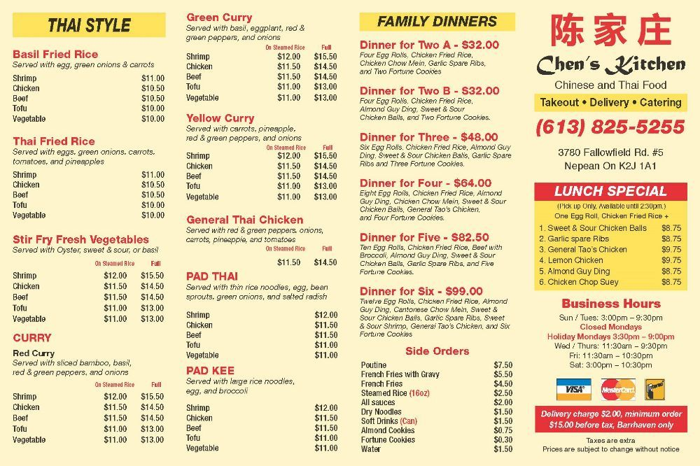 Chen S Kitchen Chinese 3780 Fallowfield Road Nepean On