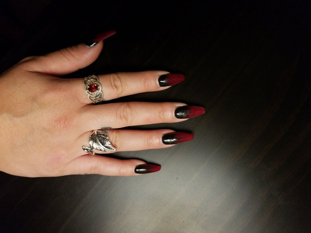 A Week Old Black And Red Ombre Coffin Nail By Emily Yelp