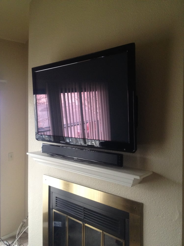 Tv wall mount above a fireplace with sound bar yelp - Tv wall mount above fireplace ...