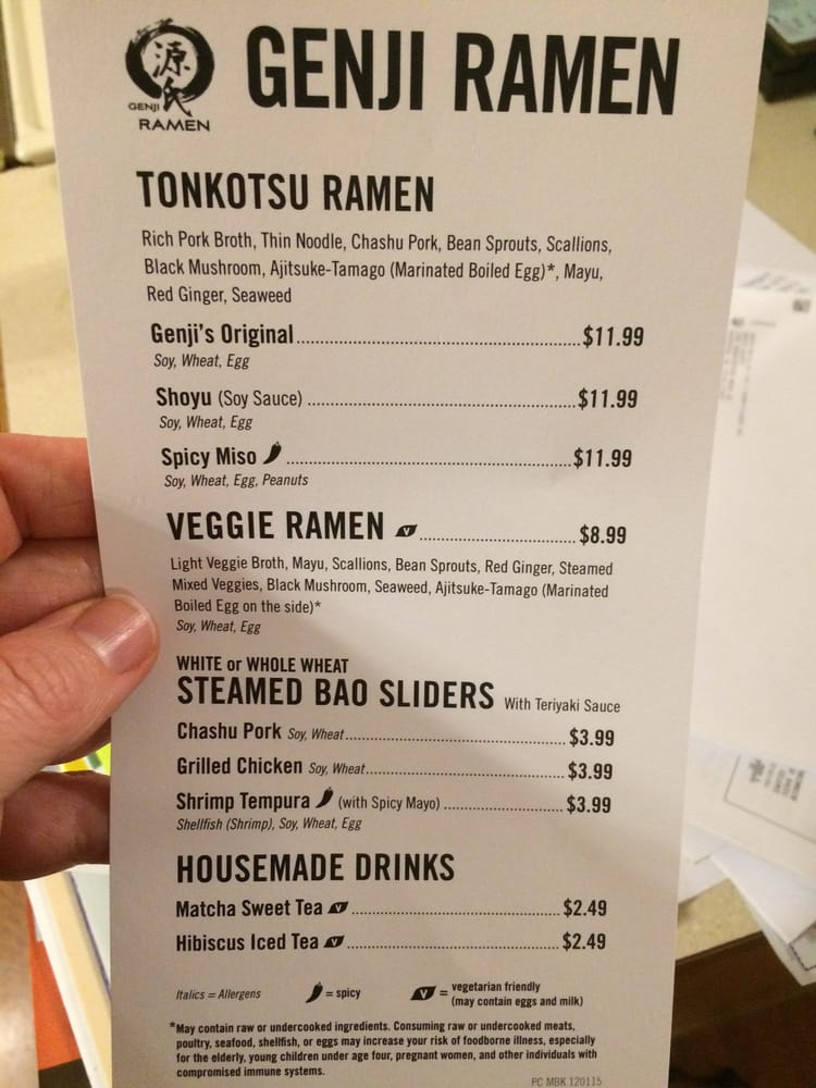 Genji Ramen Whole Foods Menu