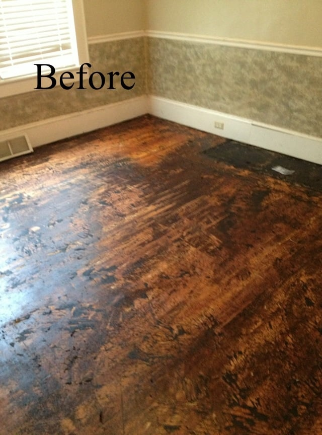 Before Heart Pine Floor Covered With Old Tar Paper And
