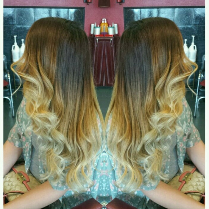 Ombre created with the help of olaplex to make her blonder - The catwalk hair salon ...