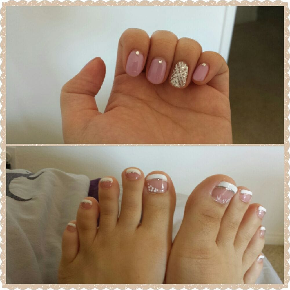 Gel nail art. Color orchid topped with little diamond studs. Toes ...
